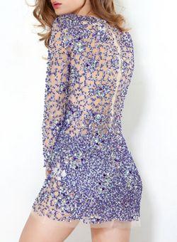 Blue Sequin Dress by JOVANI @girlmeetsdress