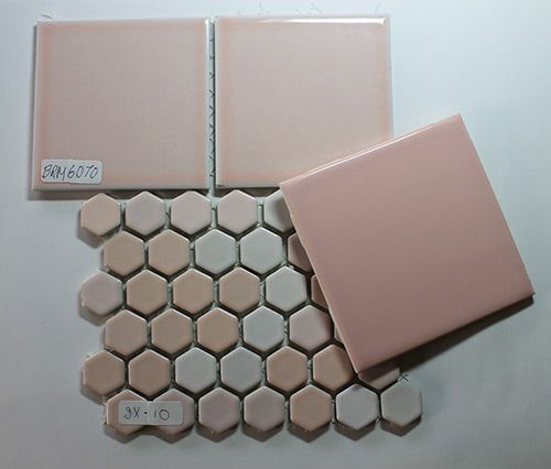 best tile for shower floor | ... match, compare & contrast 17 pink bathroom tiles for my retro remodel