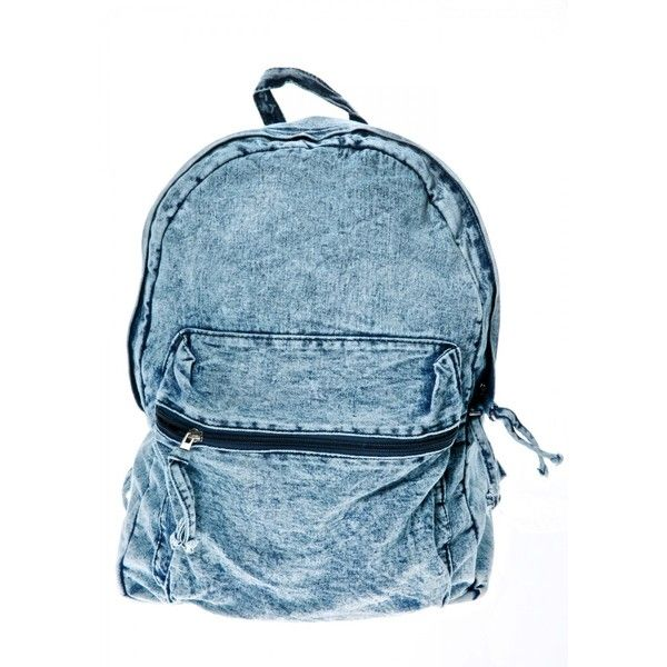 Daytripper Acid Wash Backpack (£30) ❤ liked on Polyvore featuring bags, backpacks, blue denim backpack, blue backpack, backpack bags, denim backpack and knapsack bag