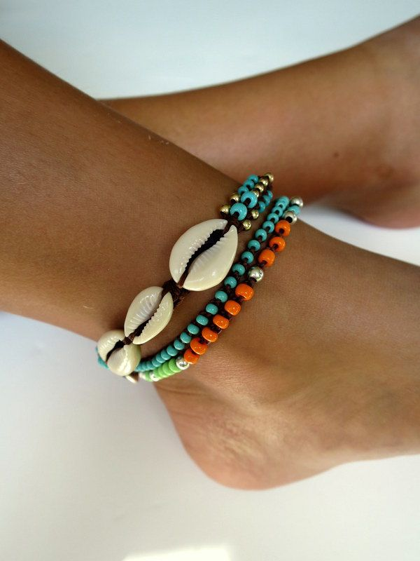 Beaded anklet shell anklet beads anklet knotted by tashajewelry