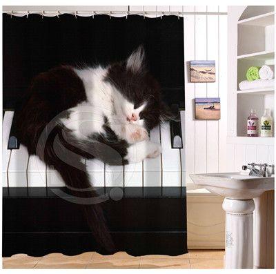 YY612f64 Новый Пользовательский Смешно Маленькая Кошка Спит На Фортепиано Современный Душ Занавес ванная комната Водонепроницаемый жж-w $64