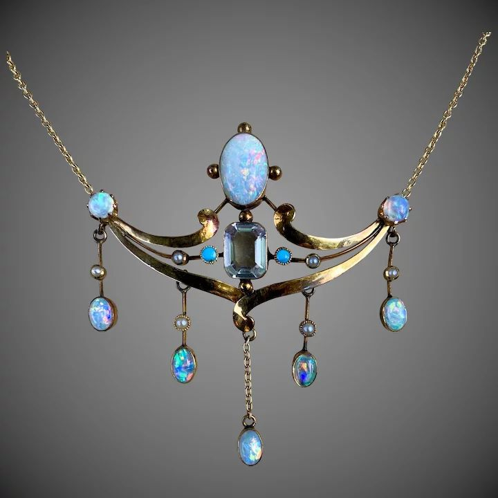 Antique Arts and Crafts 14k Gold Black Opal Aquamarine Seed Pearl Turquoise Multi Gemstone Necklace
