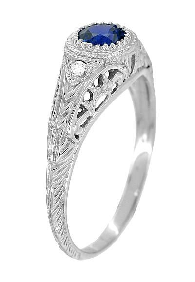 Art Deco Engraved Shire And Diamond Filigree Engagement Ring In 14 Karat White Gold