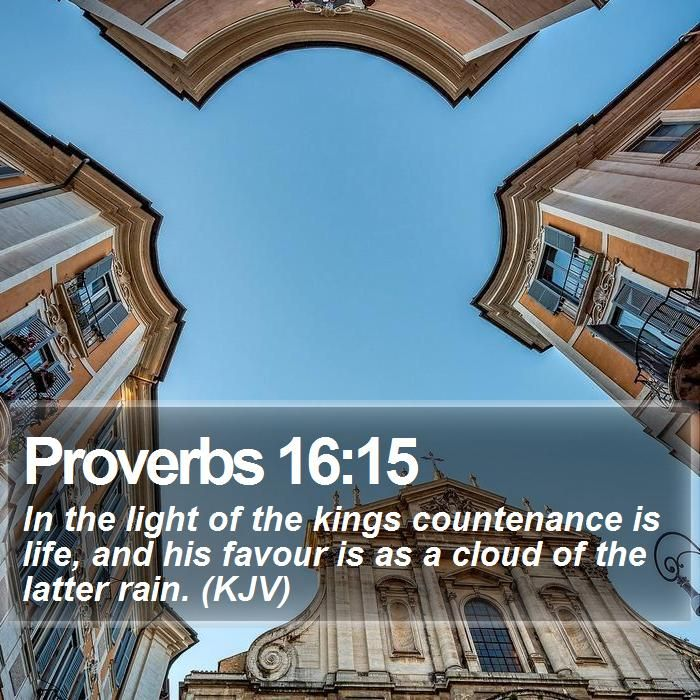 Proverbs 16:15 In the light of the kings countenance is life, and his favour is as a cloud of the latter rain. (KJV)  #Summer #Sun #Sun #Pray #LastDays #WordOfLife http://www.bible-sms.com/