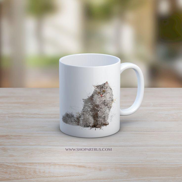 Cat Mug, Cat watercolour Cup, Cat Dish, Cat Coffee Mug, Cat Coffee Cup, Coffee Mug, Cat Drinkware, Coffee Cup, grey cat mug,cat painting mug by artRuss on Etsy