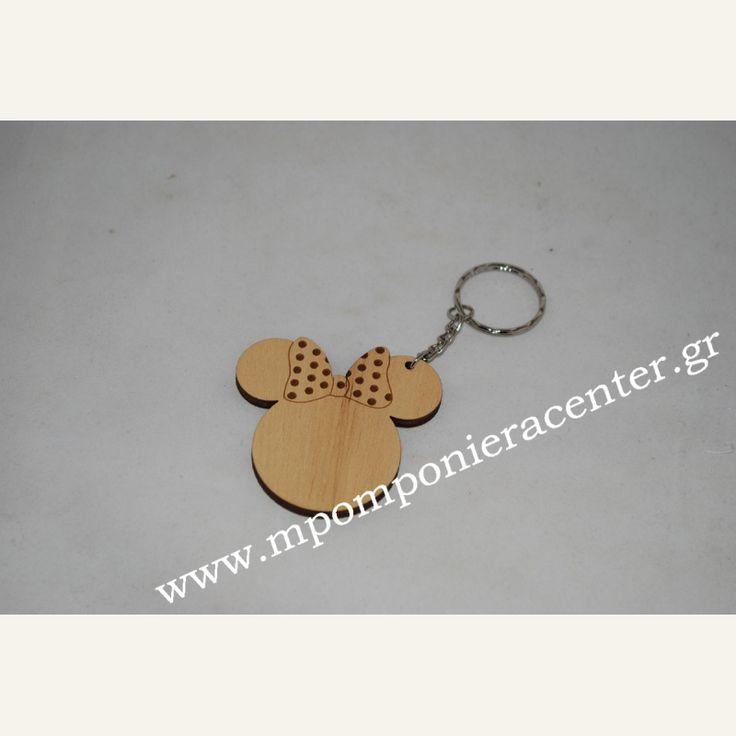 Μπρελόκ χειροποίητο ξύλινο τύπου Minnie mouse