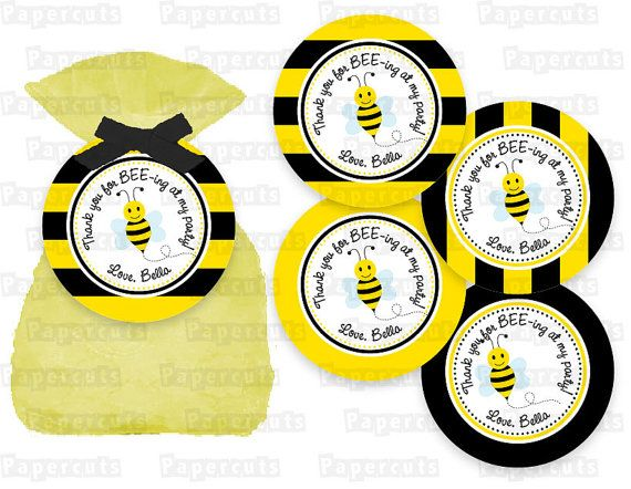 Printable DIY Black And Yellow Honey Bee Bumble Busy Theme Birthday Thank You Favor Tags