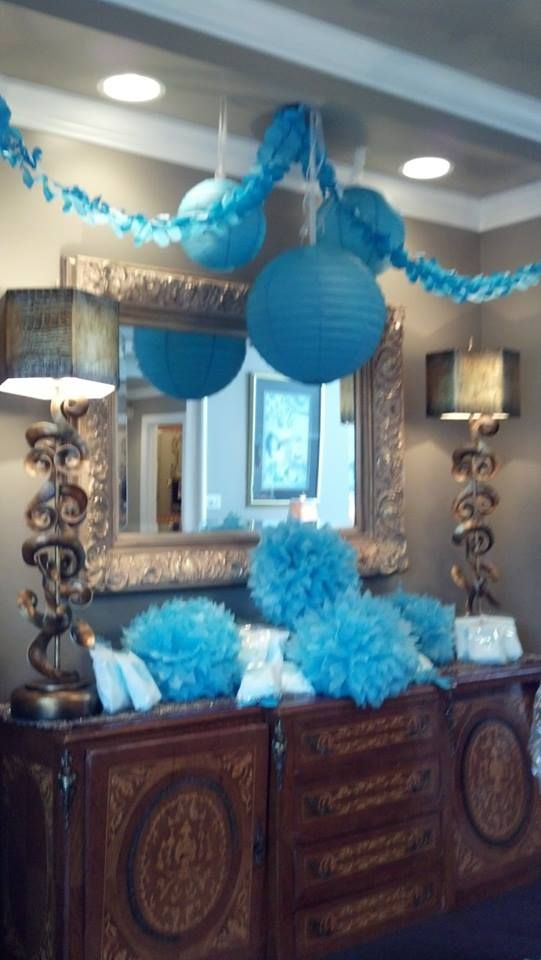baby BOY baby shower. BLUE baby shower decorations