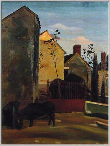 Mario Tozzi 1922: L'Asino al Cancello -  Olio su Tela cm.(80x60) - Collezione Parigi - Archivio n.532 - Catalogo n.22/12.