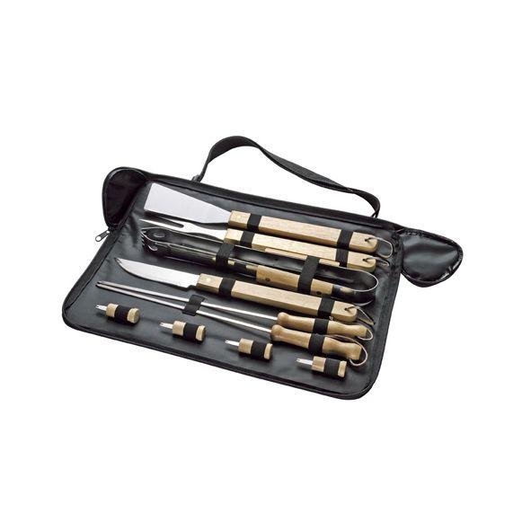COD.VN049 Set de asado con 10 prácticas herramientas, en bolso de tela Polyester 1680D.