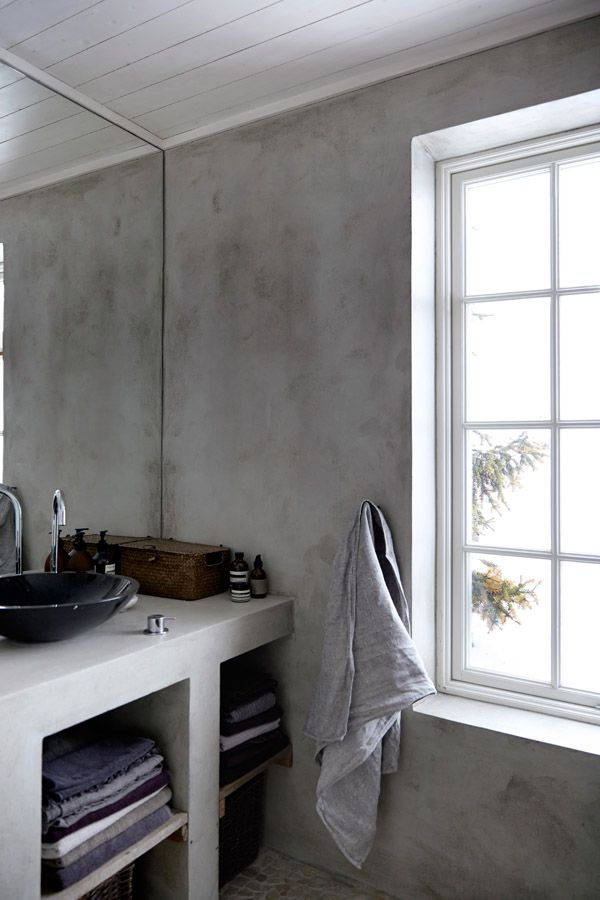 Norwegian bathroom with wood and concrete elements