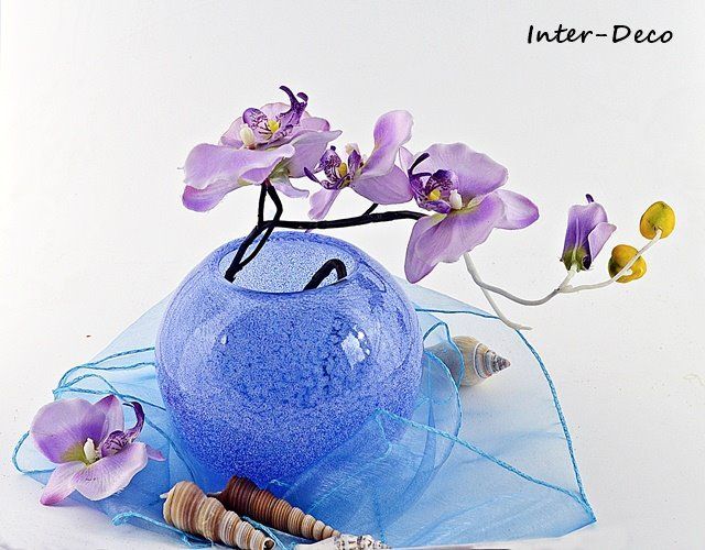 Niebieski wazon - szklana kula - Wazony - Comarch e-Sklep