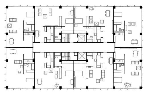 Mies van der rohe lake shore drive a typical floor plan for 1400 n lake shore drive floor plans