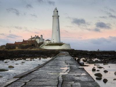 St. Mary's Island and St. Mary's Lighthouse at Dusk, Near Whitley Bay, Tyne and Wear, England, UK