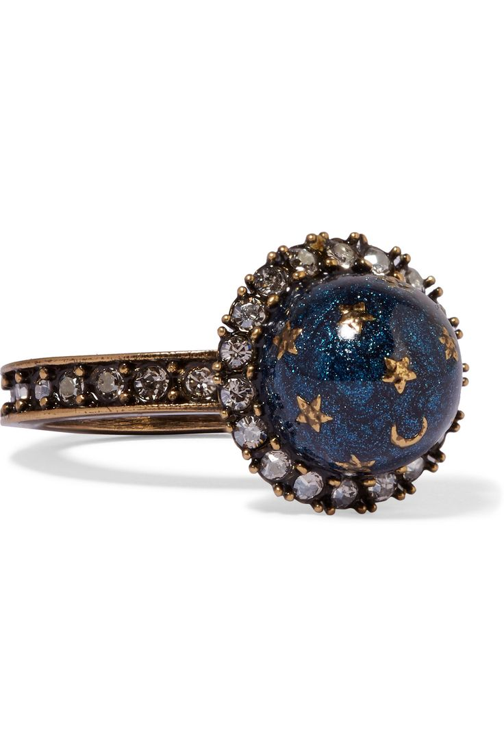 Copper ring with 18K gold ring with champagne and white diamonds and lapis with gold inlaid celestial motifs