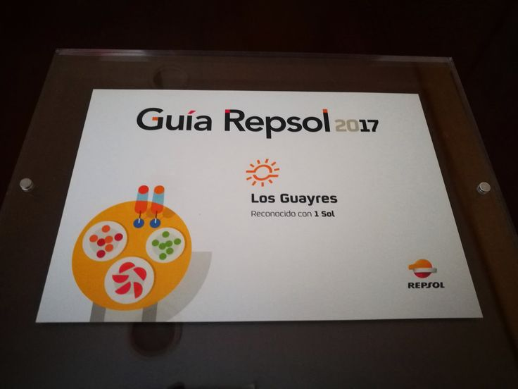 Our #restaurant Los Guayres has been awarded for the fourth consecutive year with the Sol Repsol.