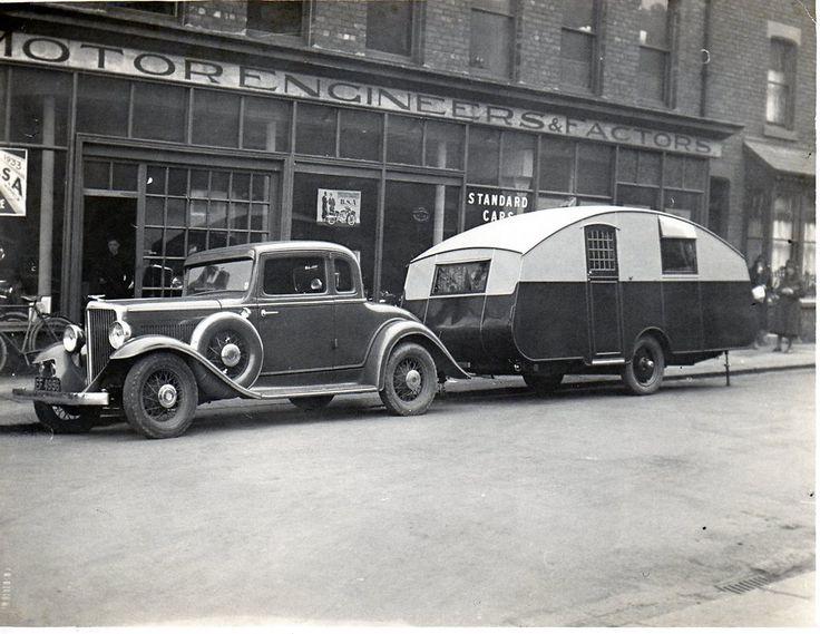 Car and Caravan outside Robert Robinson, South Road, Hartlepool. Car reg no EF 4596