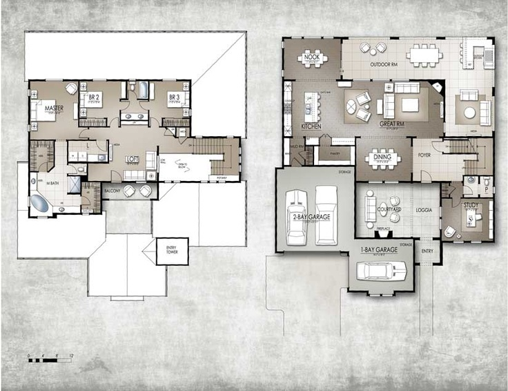 "Floor Plan Friday for 3/16/2012. ""Overlook 1"" from Lone Tree, CO. Winner of The 2012 Nationals Gold Award for Best Architectural Design of a Single Family Home, 2500 - 3499 sq. ft. Builder: Celebrity Homes. Architect: Woodley Architectural Group, Inc.Floorplans"