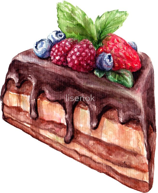 Piece of chocolate cake with berry