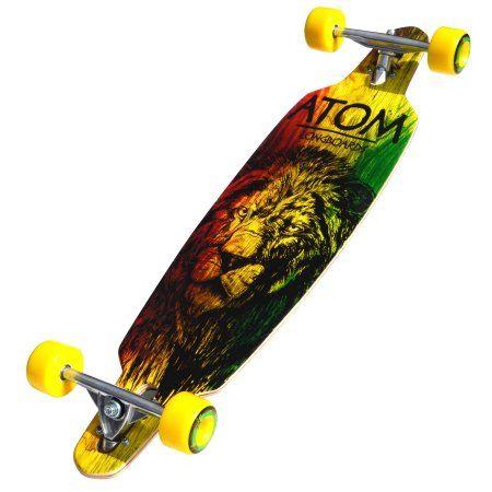 Atom Drop-Through Longboard - 36 Inch (Rasta Lion), Multicolor