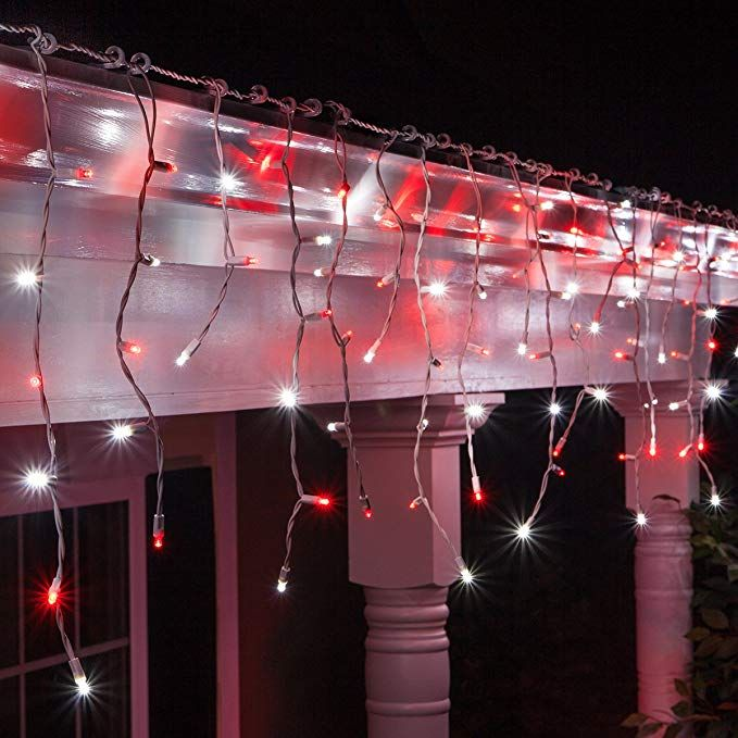 Amazon Com 70 M5 Red Led Icicle Lights 7 5 White Wire Outdoor Christmas Lights Outdoor Christ White Christmas Lights Icicle Lights Icicle Christmas Lights