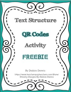 This marvelous FREEBIE is fun and challenging, providing a way for students to apply their knowledge of text structures through the use of QR Codes. These codes are linked to kid-friendly HIGH INTEREST news articles online. Students match each article to one of the main text structures: description, sequence, chronological, cause/effect, problem/solution, compare/contrast, and persuasive.