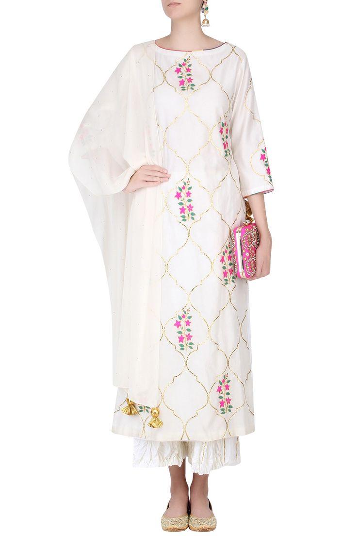 Ecru mughal botanic embroidered motifs kurta and sharara pants set available only at Pernia's Pop Up Shop.