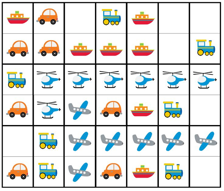 Transportation dominoes set - printable car, train ...