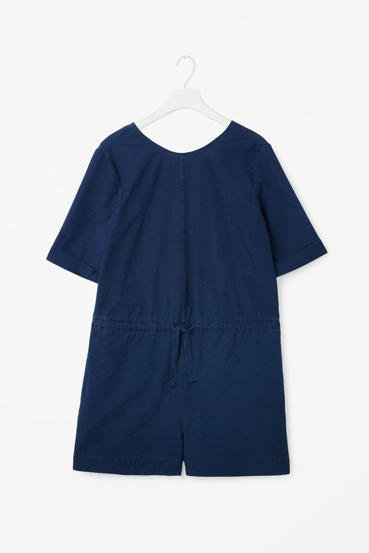 COS image 4 of V-back denim jumpsuit in Blue