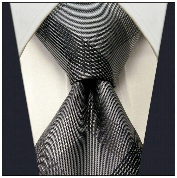 "Gray Check / Stripe Design nto28y 3.5"" 100% Silk Jacquard Woven Men's Tie  #NeckTie"