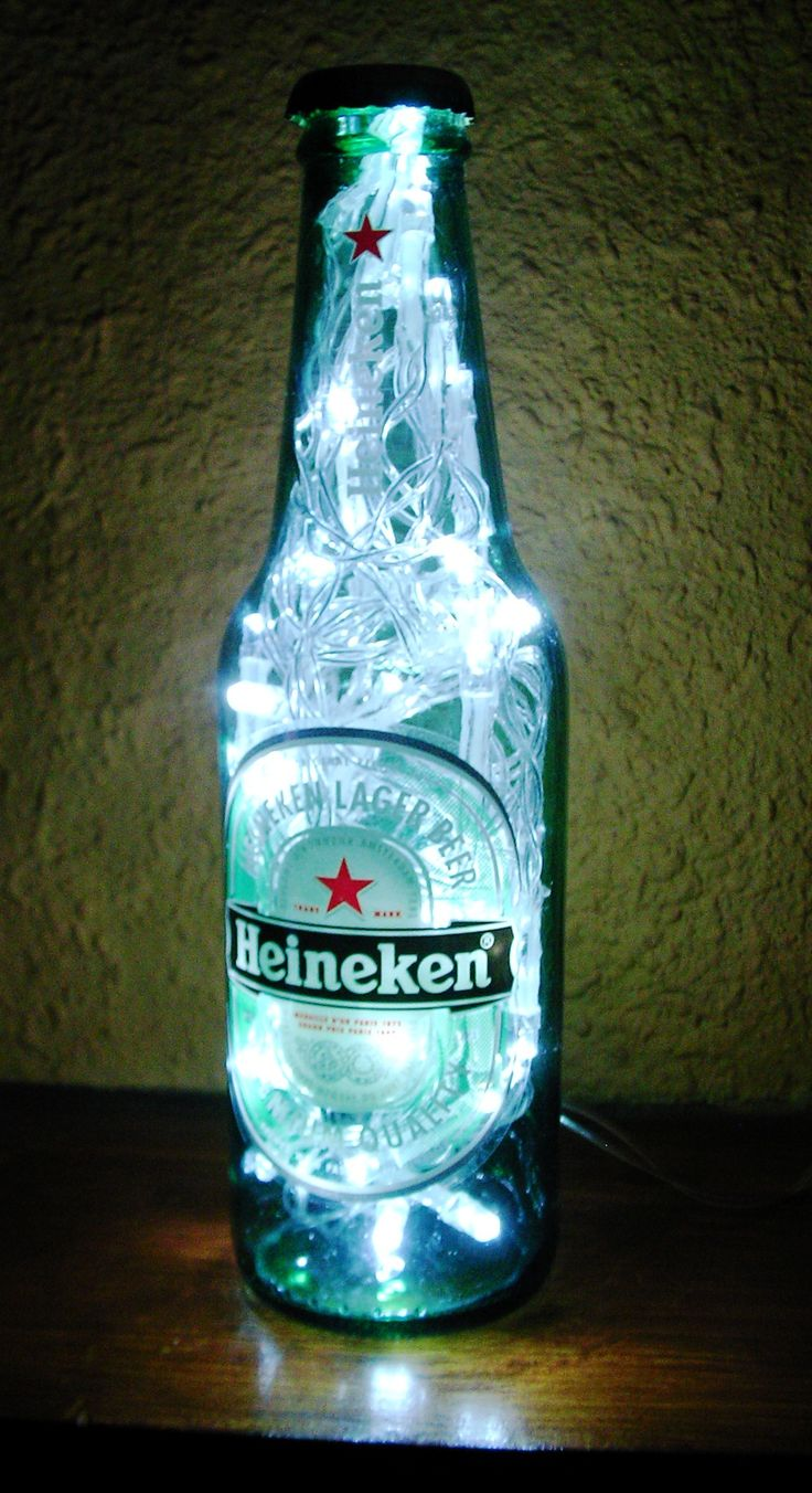 Led lamp with upcycled beer bottle. Lámpara led con botella reciclada. https://www.facebook.com/ceraymadera
