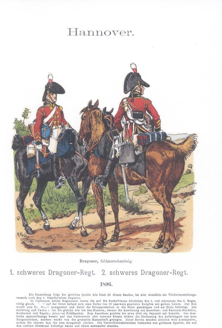 Vol 13 - Pl 54 - Hannover. Englisch-Deutsche Legion. 1. schweres Dragoner-Regiment. 2. schweres Dragoner-Regiment. Dragoner feldmarschmäßig. 1806.
