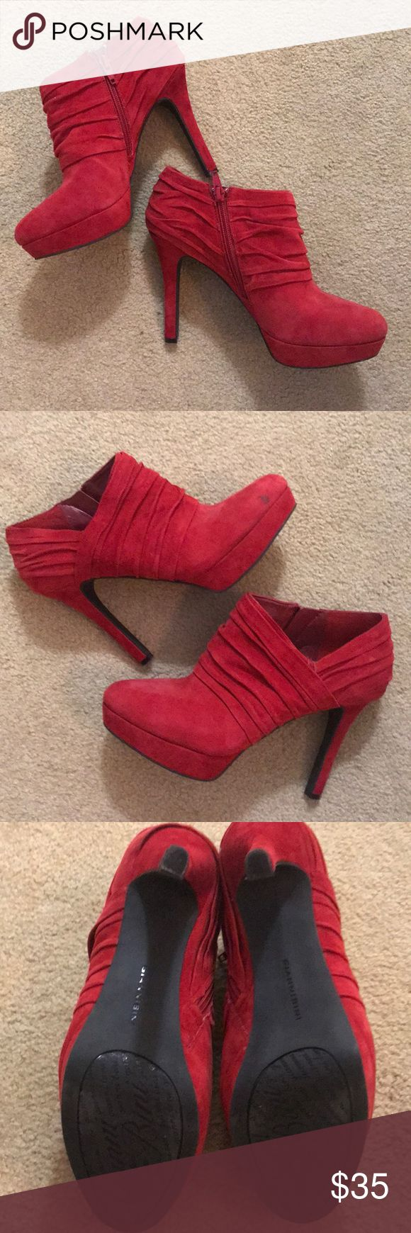 Gianni Bini Red Suede Platform Bootie Gianni Bini Red Suede Ankle Bootie Small Scuff on right toe Gianni Bini Shoes Ankle Boots & Booties