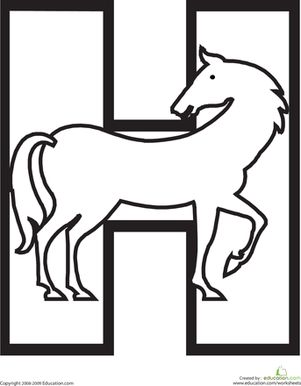 This fun alphabet coloring page will have your child coloring a hoofing horse while learning the shape and sound of the letter H.