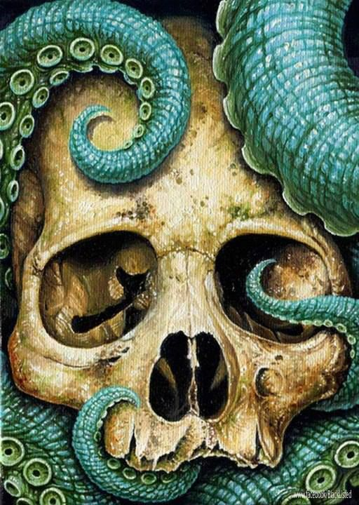 Skull Painting. Artist unknown. Tenticle design.