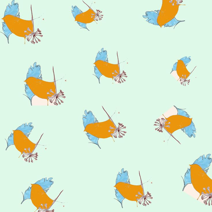 #illustration #print #bird #collage #pastel #pastels #design #designer #illustrator #handdrawn #drawing #repeat #pattern #repeatpattern