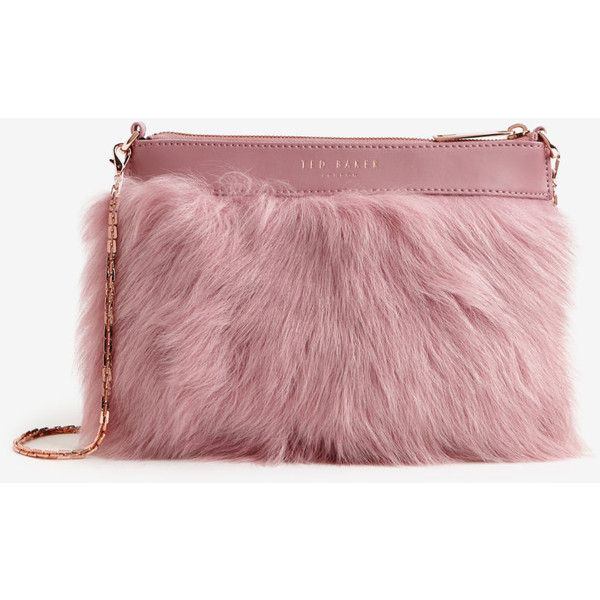 Faux fur leather clutch bag (£59) ❤ liked on Polyvore featuring bags, handbags, clutches, faux-fur handbags, ted baker handbags, red handbags, red leather handbag and red clutches