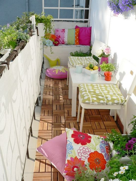 Balcony. Colorful decoration.