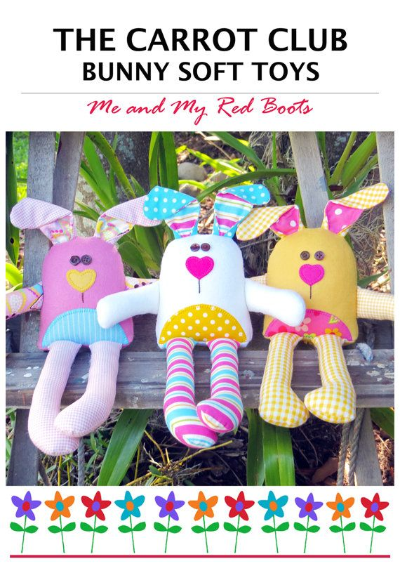 The Carrot Club  Bunny Soft Toys  PDF Pattern by TheRedBootQuiltCo
