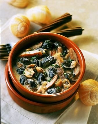 French snails with a Chablis wine, garlic, parsley and mushrooms sauce.