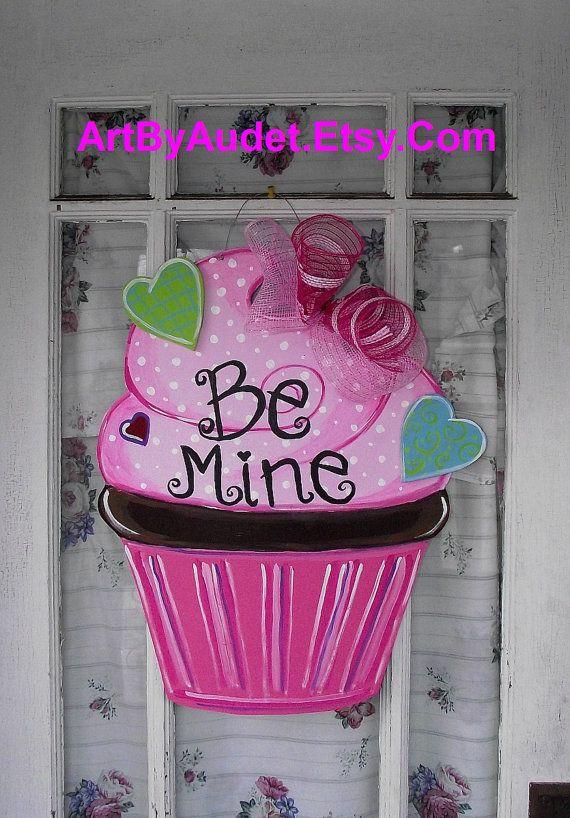 Valentine's Day Cupcake Door Hanger by ArtByAudet on Etsy, $35.00