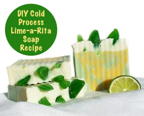 """DIY Lime-a-Rita Homemade Soap Recipe with """"Lime"""" Wedges and Coarse Margarita Sea Salt"""