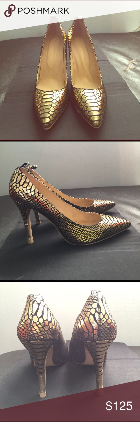 """Giuseppe Zanotti Design shoes Sexy 4""""stilettos, leather with snakeskin print. There is a small area of gold is scratched off on right heel see pic. NWOT Giuseppe Zanotti Shoes Heels"""