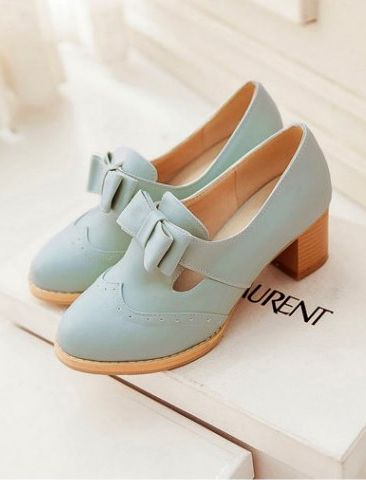 Mint bow oxfords