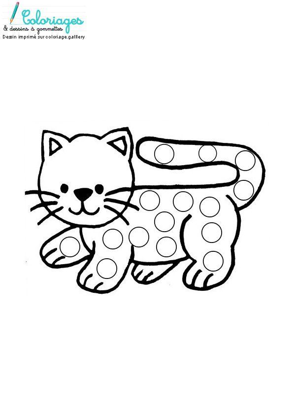 Dessin chat à gommettes