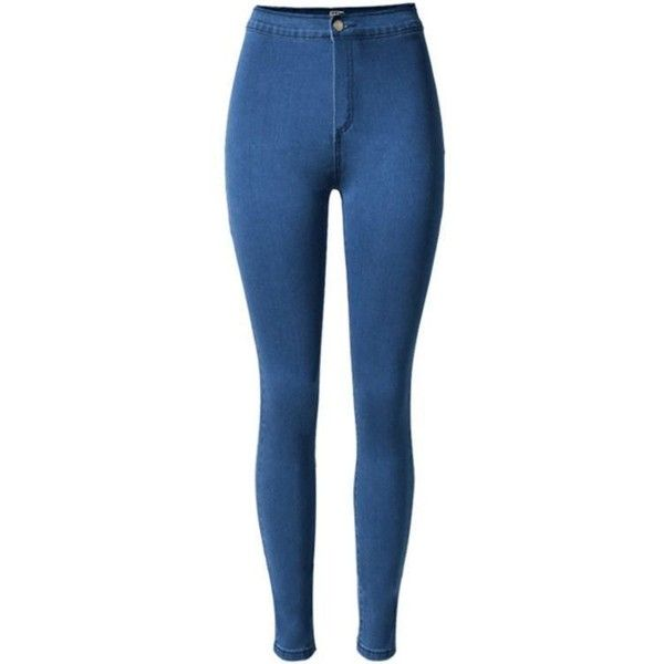 High Waist Jeggings In Dark Blue ($28) ❤ liked on Polyvore featuring pants, jeans, bottoms, high waisted pants, blue pants, blue jeggings, jeggings pants and blue trousers