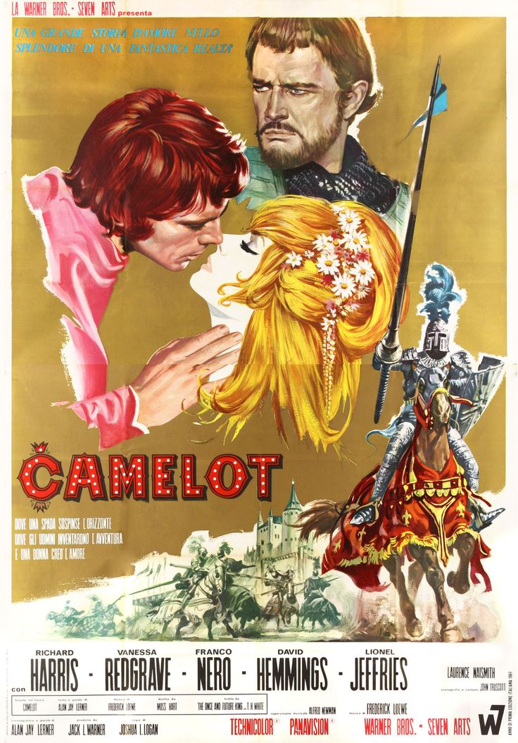 "Italian movie poster for ""Camelot,"" 1968, starring Vanessa Redgrave, Richard Harris and Franco Nero. Directed by Joshua Logan, based on the stage play by Alan Jay Lerner and Frederick Loewe."