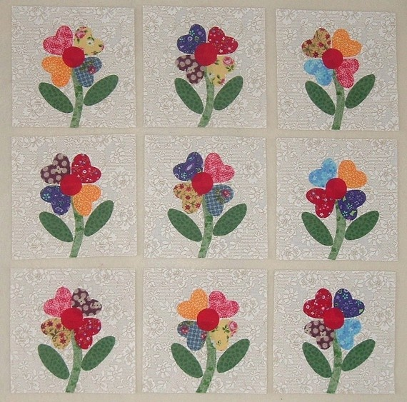 9 Bright and Cheery Flower Quilt Top Blocks   by MarsyesQuiltShop:  Love It!