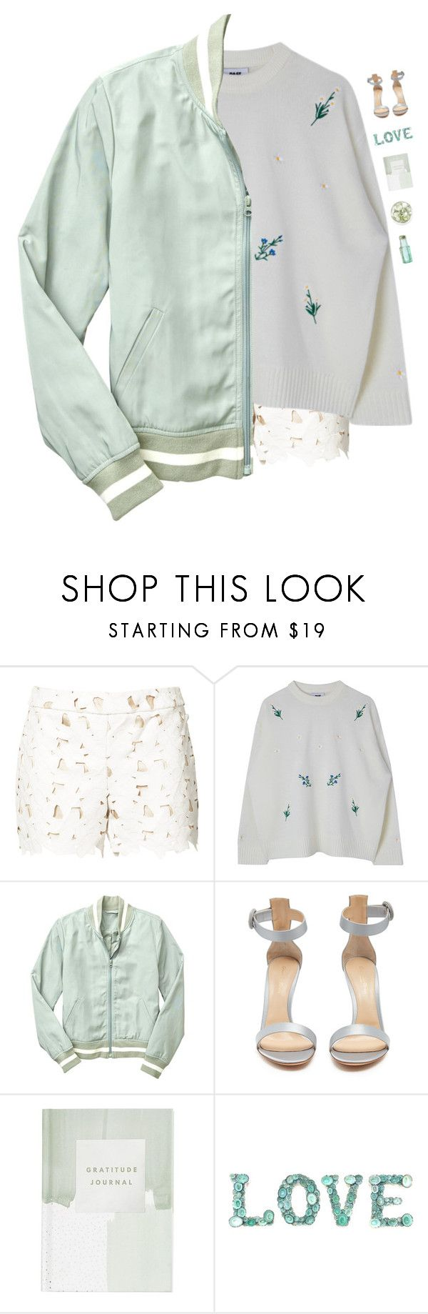 """Mint jacket"" by genesis129 ❤ liked on Polyvore featuring Alice + Olivia, Gap, Gianvito Rossi, Thrive and vintage"