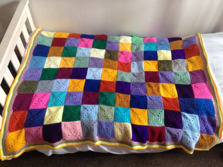 Scrappy blanket for Bea's bed - solid granny squares